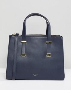 Большая структурированная сумка-тоут с регулируемыми ручками Ted Baker - Темно-синий