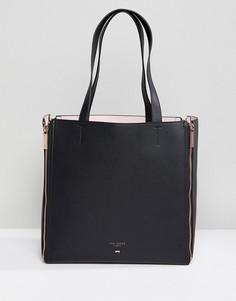 Кожаная сумка-шоппер в стиле колор блок со сменными вставками Ted Baker - Черный