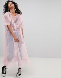 Платье из тюля с оборками Monki - Розовый