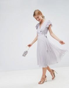Платье миди с рукавами-оборками и плиссировкой ASOS - Серый