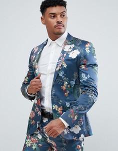 Синий приталенный пиджак с цветочным принтом ASOS - Синий