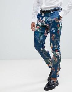 Синие брюки скинни с цветочным принтом ASOS - Синий
