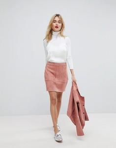 Мини-юбка из искусственной замши Vero Moda - Розовый