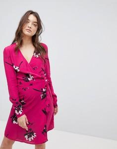 Платье с запахом и цветочным принтом Vila - Розовый