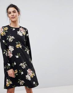 Платье А-силуэта с цветочным принтом Y.A.S - Мульти