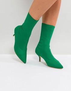 Зеленые полусапожки на каблуке-рюмочке RAID Bria - Зеленый
