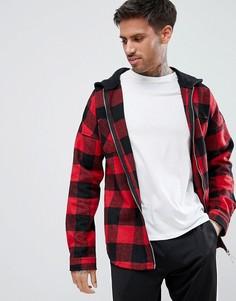 Красная куртка в клетку с молнией и капюшоном boohooMAN - Красный