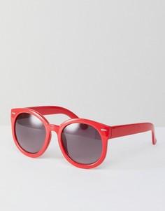 Круглые солнцезащитные очки кошачий глаз Monki - Красный