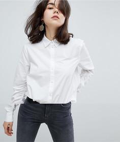 Рубашка на пуговицах с оборками Pieces - Белый
