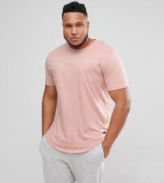 Длинная футболка с круглым вырезом Only & Sons PLUS - Розовый