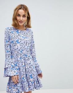 Платье с цветочным принтом и оборками на рукавах Vero Moda - Фиолетовый