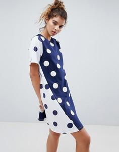 Свободное платье со вставками в горошек ASOS - Мульти