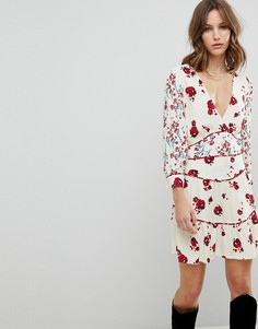 Платье мини с цветочным принтом BA&SH - Белый Ba&Sh