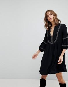 Платье с присборенной юбкой и вышивкой BA&SH - Черный Ba&Sh