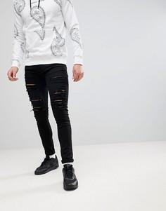 Черные облегающие джинсы с рваной отделкой Criminal Damage - Черный
