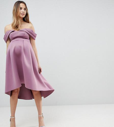 Платье миди для выпускного с вырезами на плечах и асимметричным краем ASOS MATERNITY - Розовый