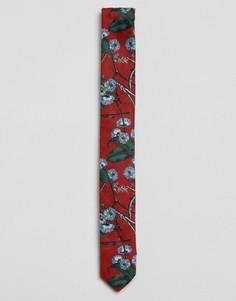 Красный галстук с цветочным принтом ASOS - Красный