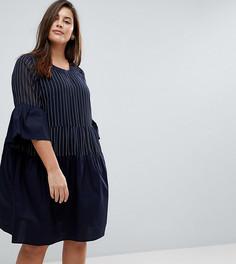 Короткое приталенное платье в тонкую полоску Junarose - Темно-синий