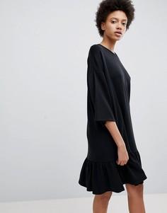 Мягкое свободное платье Selected - Черный