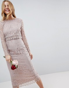 0d7876046d6 Кружевное платье-футляр миди с длинными рукавами ASOS WEDDING - Бежевый