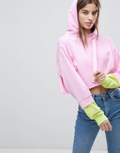 Короткий худи с рукавами в стиле колор блок ASOS - Розовый