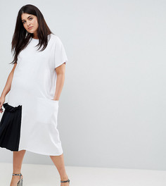 Платье-футболка миди с контрастной плиссированной вставкой ASOS CURVE - Белый