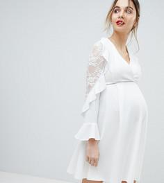 Короткое приталенное платье с запахом и оборками на рукавах Queen Bee - Кремовый