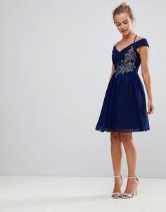 Декорированное платье для выпускного Little Mistress - Темно-синий