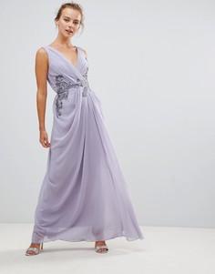 Платье макси с V-образным вырезом и декоративной отделкой Little Mistress - Фиолетовый