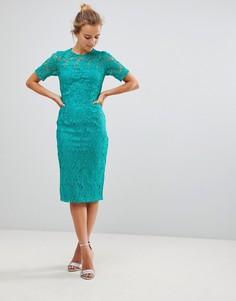 Платье миди в стиле кроше с короткими рукавами Little Mistress - Зеленый
