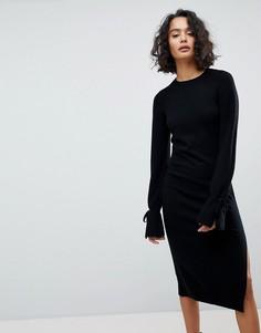 Трикотажное платье миди с завязками на рукавах AllSaints - Черный