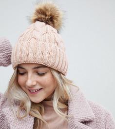 Розовая шапка-бини с помпоном My Accessories - Розовый