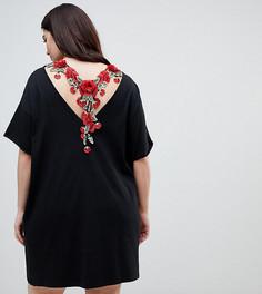 Платье-футболка с вышивкой ASOS CURVE - Черный
