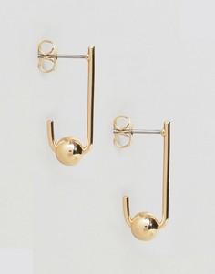 Серьги с подвесками-кольцами Pieces - Золотой