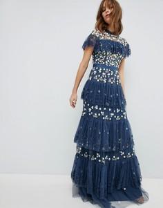 Ярусное платье с контрастной вышивкой Needle & Thread - Синий