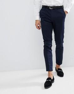 Темно-синие атласные строгие брюки скинни с ремнем Burton Menswear - Темно-синий