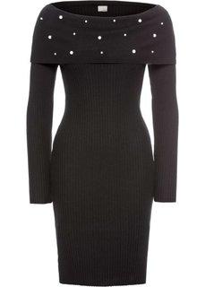 Платье с аппликацией из бусин (черный) Bonprix