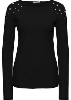 Пуловер с аппликацией из бусин (черный) Bonprix