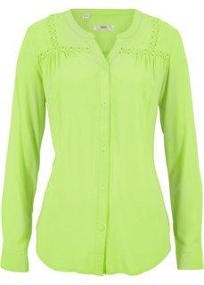 Блузка с кружевной отделкой (зеленый киви) Bonprix
