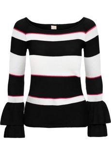 Пуловер (черный/белый/красный в полоску) Bonprix