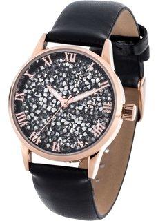 Часы с блестками (черный) Bonprix