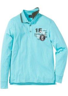Рубашка поло Regular Fit с длинными рукавами (аква) Bonprix