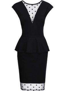 Платье со вставками в сеточку (черный) Bonprix