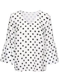 Блузка с расклешенным рукавом (кремовый в горошек) Bonprix