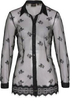 Блузка с кружевной отделкой (черный) Bonprix