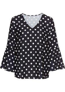 Блузка с расклешенным рукавом (черный в горошек) Bonprix
