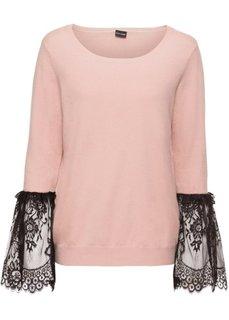 Пуловер с кружевной отделкой рукавов (розовый) Bonprix