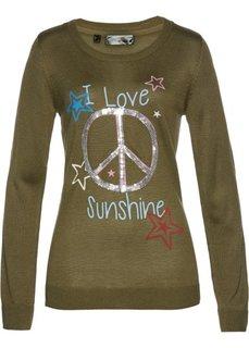 Пуловер с пайетками (зеленый хаки/разные цвета с рисунком) Bonprix