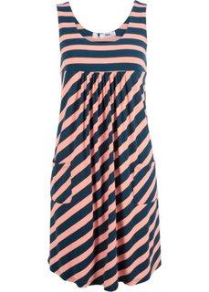 Платье-стретч в полоску (лососевый/темно-синий в полоску) Bonprix