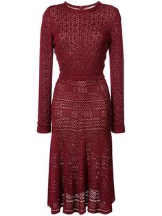 трикотажное платье с волнистой отделкой Oscar de la Renta